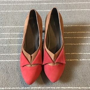 Anthro Pilcro Red/brown Low Heel